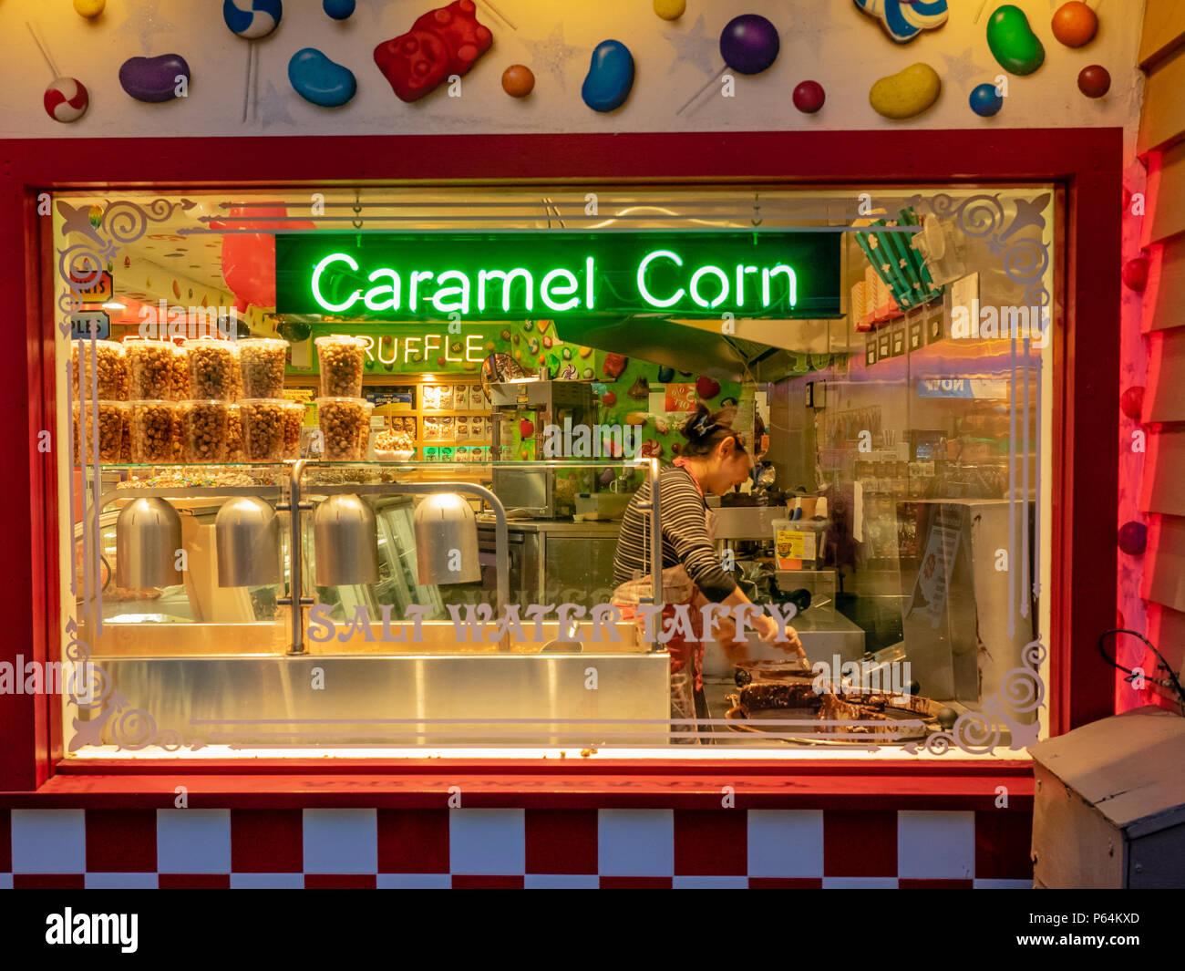 Caramel Corn Shop on Fisherman's Wharf in Monterey, California, USA. - Stock Image