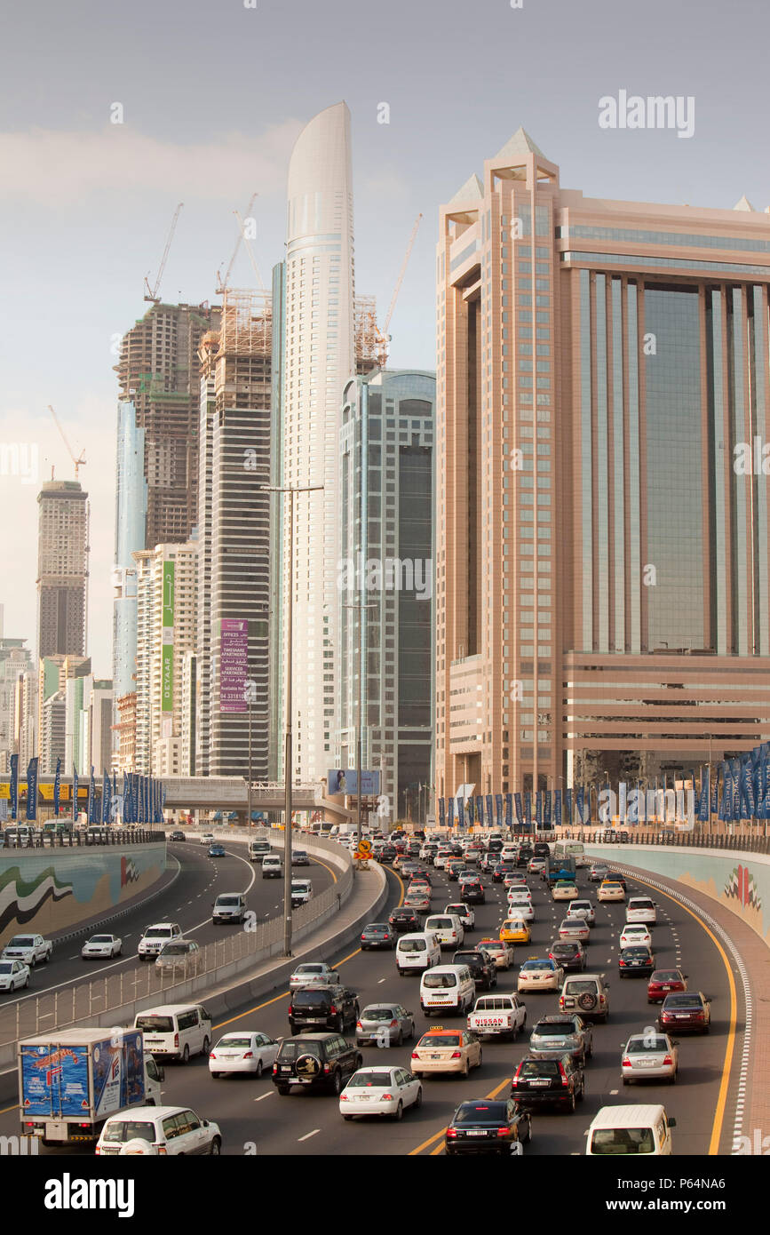 Cars in Dubai city in the Middle East Stock Photo
