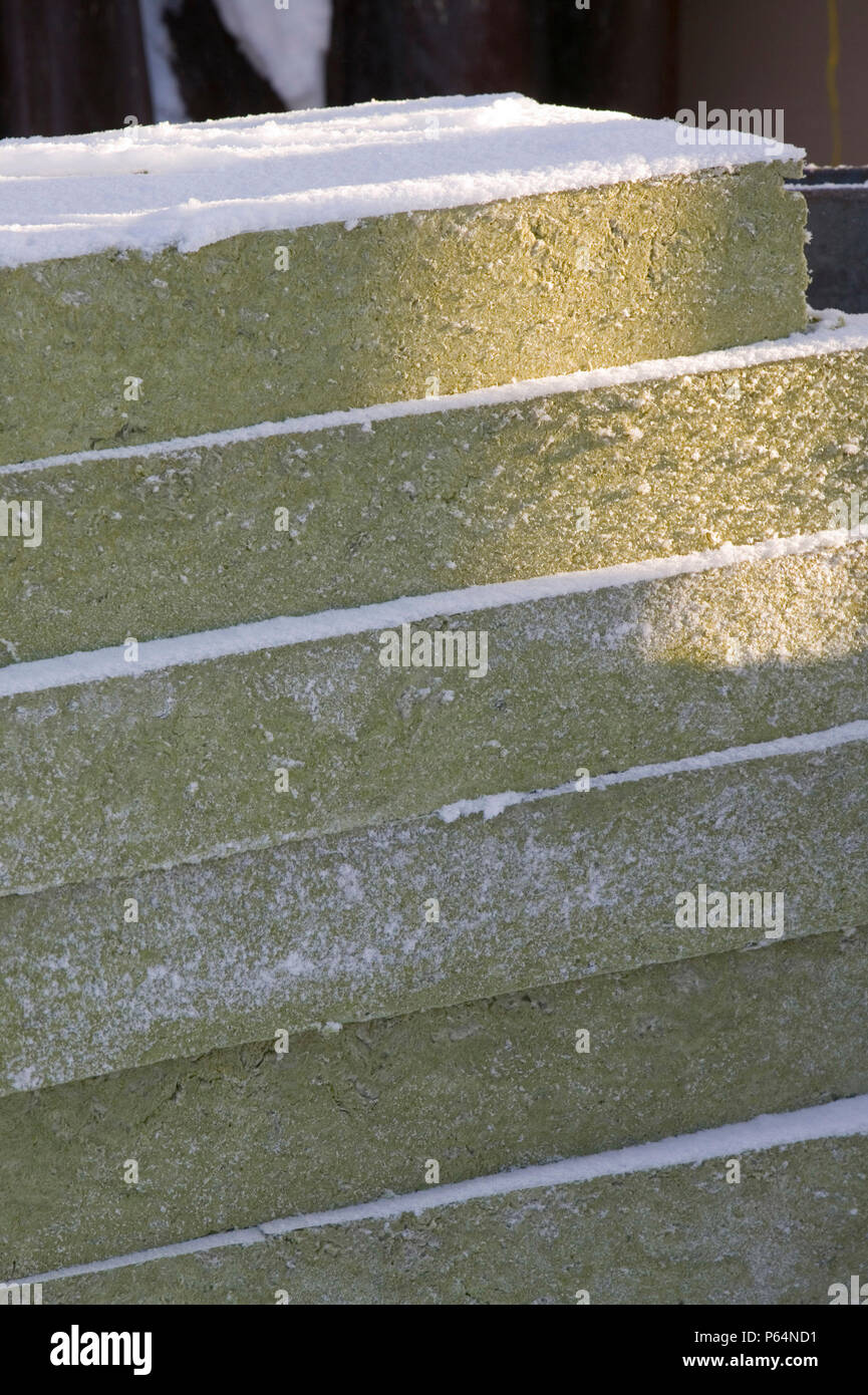 Insulation to b e incorporated into a building in Saariselka Northern Finland. Many country's could reduce their carbon footprint by making buildings  - Stock Image