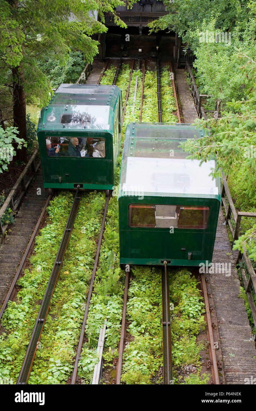 The cliff railway carriage powered entirely by water at the Center for Alternative Technology at Machynlleth - Stock Image