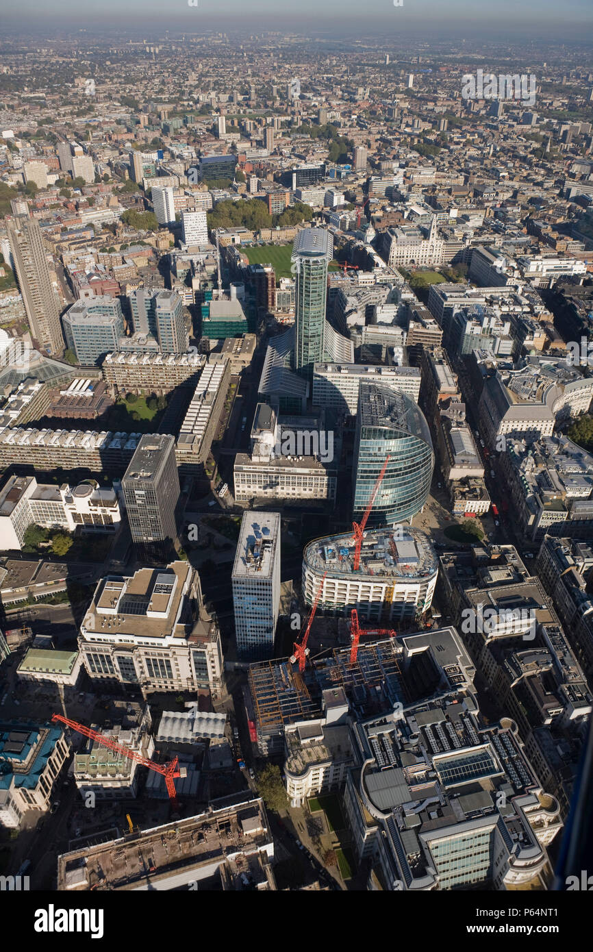 Aerial view of Citypoint and Moor House, Moorgate, London - Stock Image