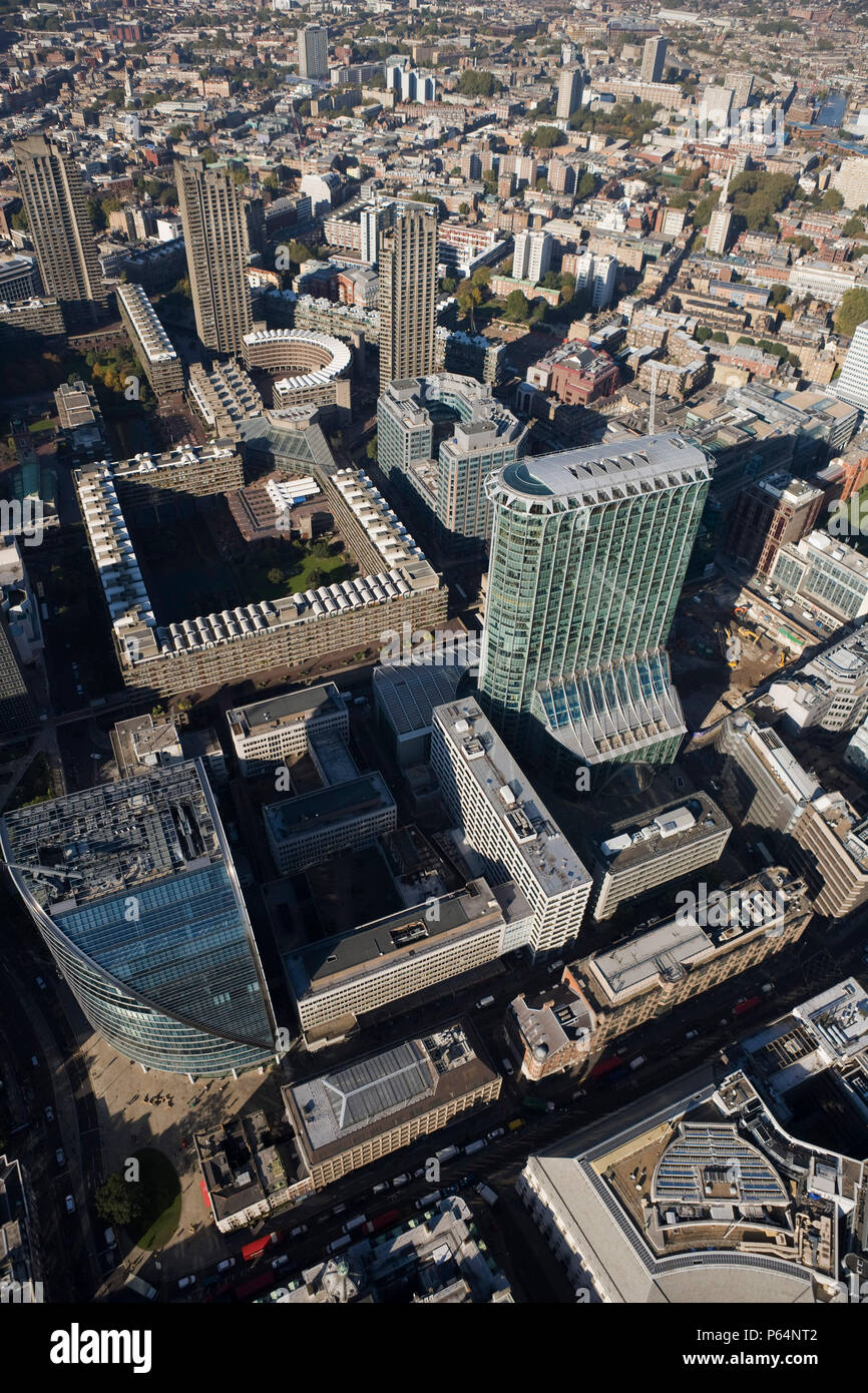 Aerial view of Citypoint & Barbican Centre, London - Stock Image