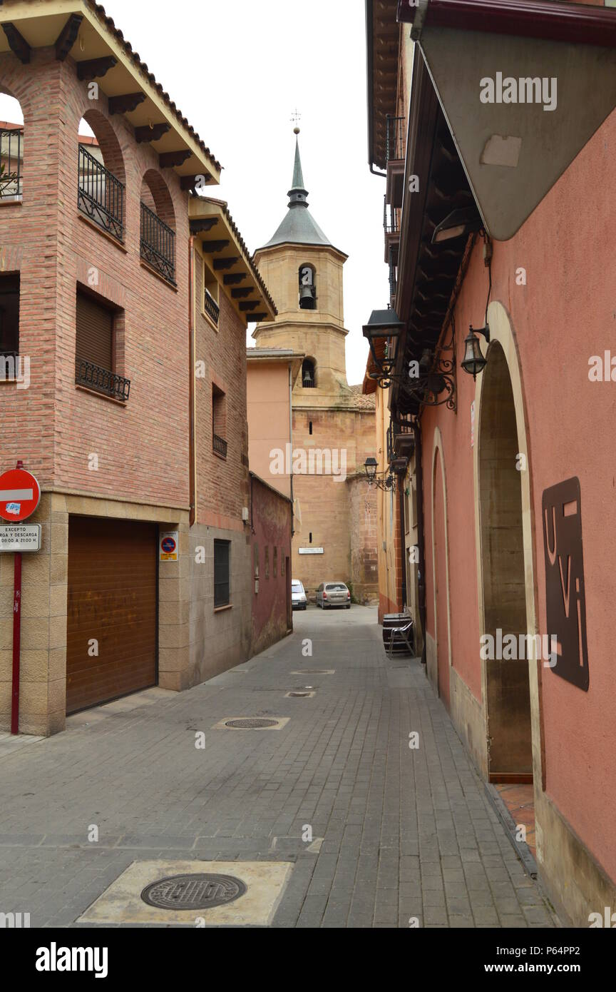 8715e51bf View Of The Bell Tower Of La Cruz Church In The Plaza De Navarra De Najera  From One Of Its Narrow Streets. Architecture