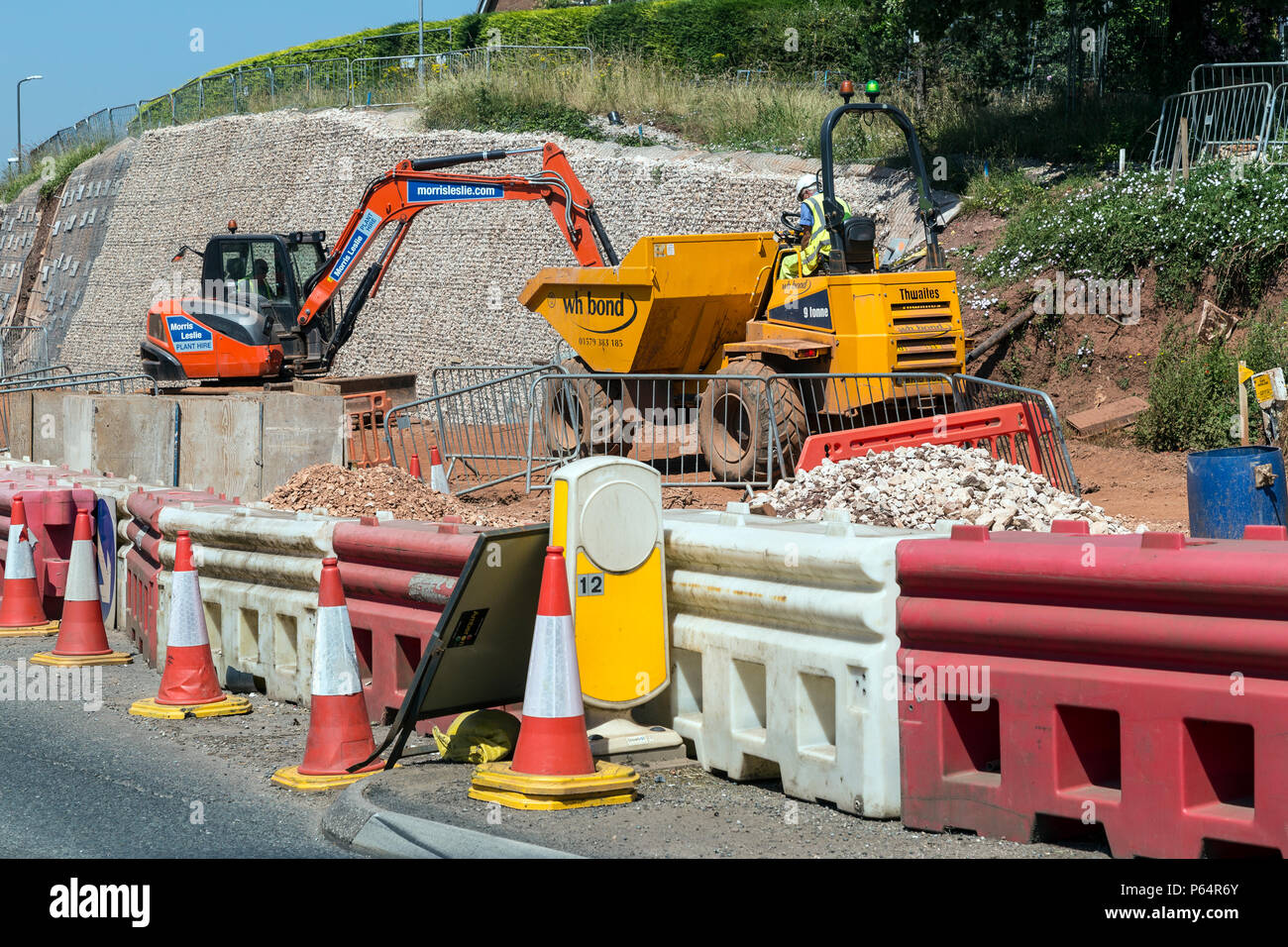 Roadworks ,cast, composition, conception, constitution,type fabricating, putting up, roadwork, contour, cut disposition, edifice, elevation, erecting, - Stock Image
