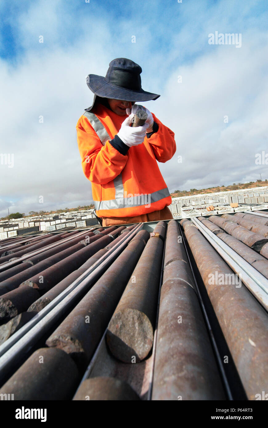 Geologist examines core sample from boreholes at uranium mine in Australia - Stock Image