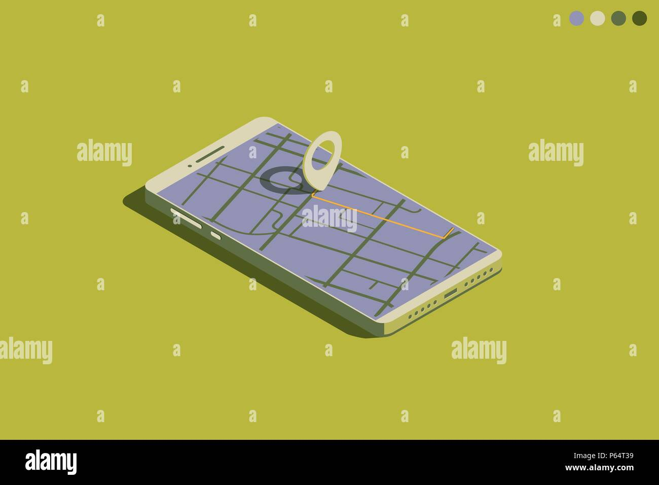Mobile isometric phone with GPS - Stock Vector