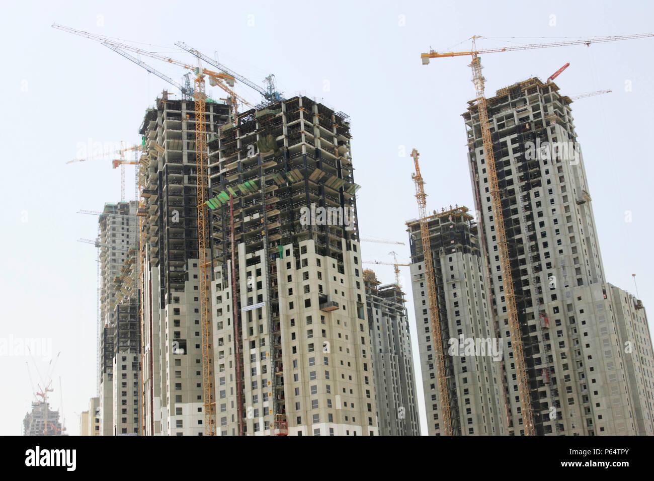 Construction of new flats, Dubai Marina Stock Photo