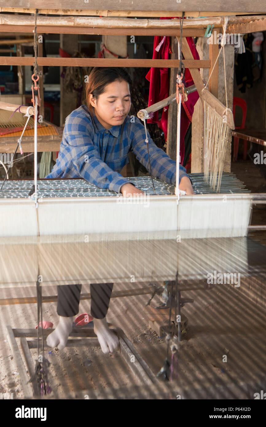 a silk weaving factory at the silk Island or Koh Dach near the city of Phnom Penh of Cambodia.  Cambodia, Phnom Penh, November, 2017, - Stock Image