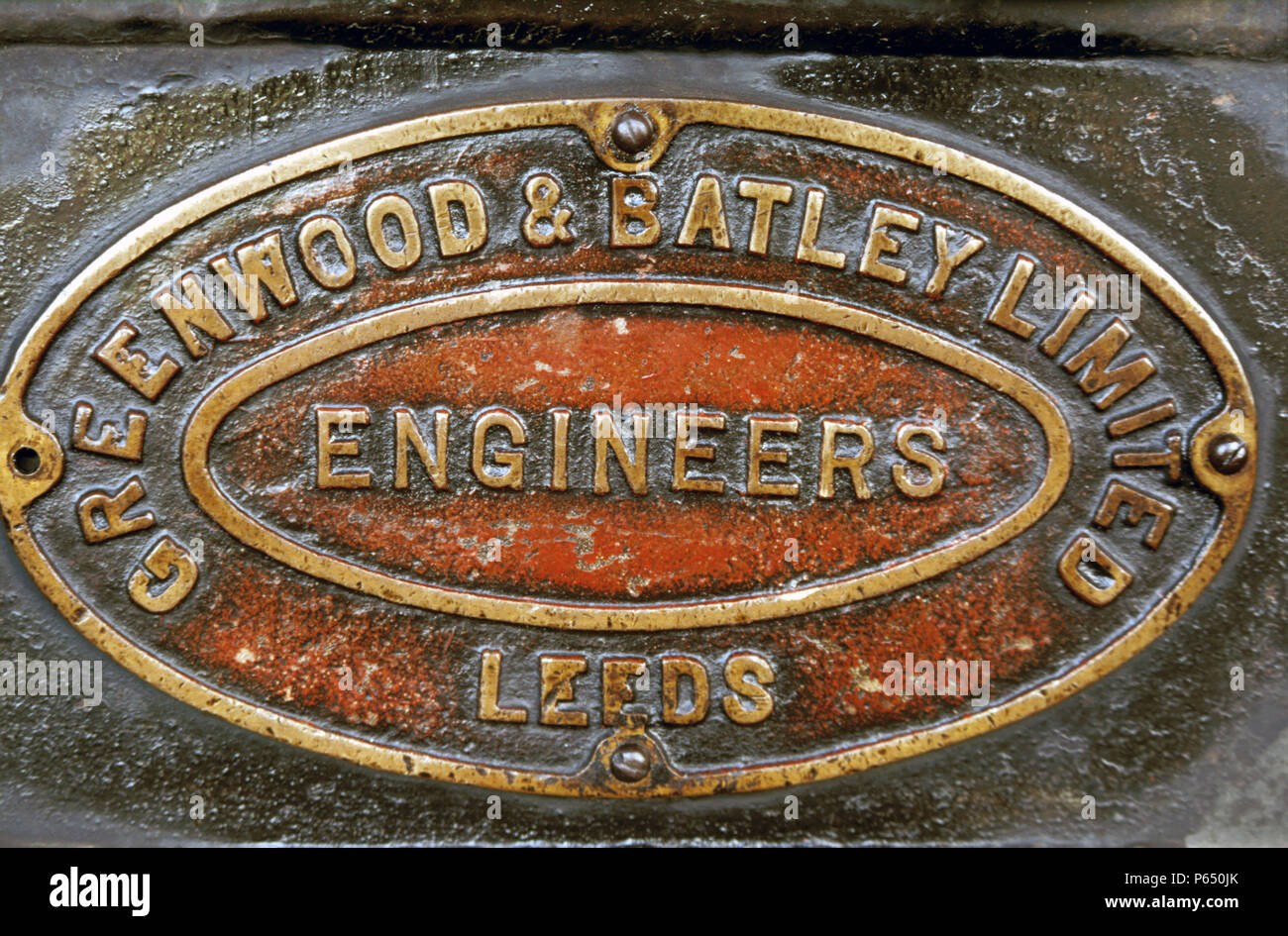 Works plate Greenwood  & Batley Engineers Leeds England, Ghana 1985. - Stock Image