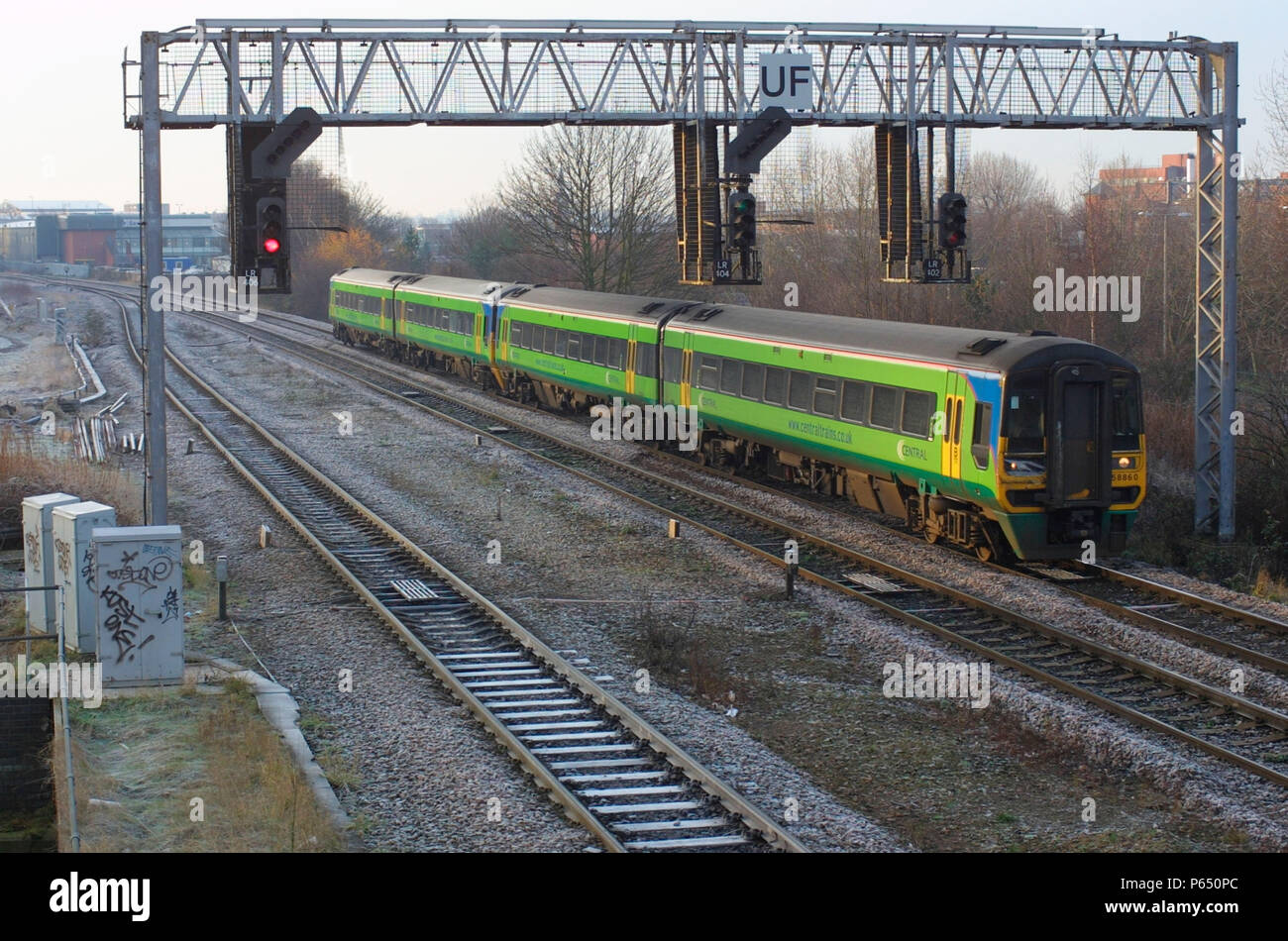 A Central Trains operated class 158 unit number 860 is seen here on approach to Leicester station from the south.. 2004. - Stock Image