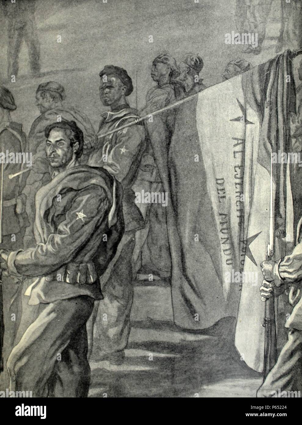 Spanish civil war: soldiers from Spanish Sahara in support of Franco Drawing by C. Sáenz de Tejada - Stock Image