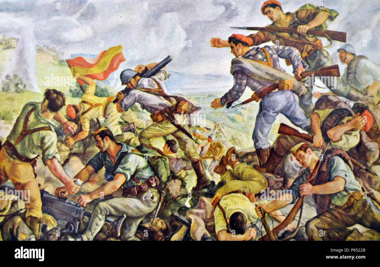 Battle of San Marcial part of the Battle of Irún was a critical battle of the Campaign of Gipuzkoa prior to the War in the North, during the Spanish Civil War. The Nationalist Army, under Alfonso Beorlegui, captured the city of Irúnusing a force comprising German light tanks, Junkers Ju 52 bombers, and a 700-man corps from the Spanish Foreign Legion. Illustration by Joaquin Valverde - Stock Image