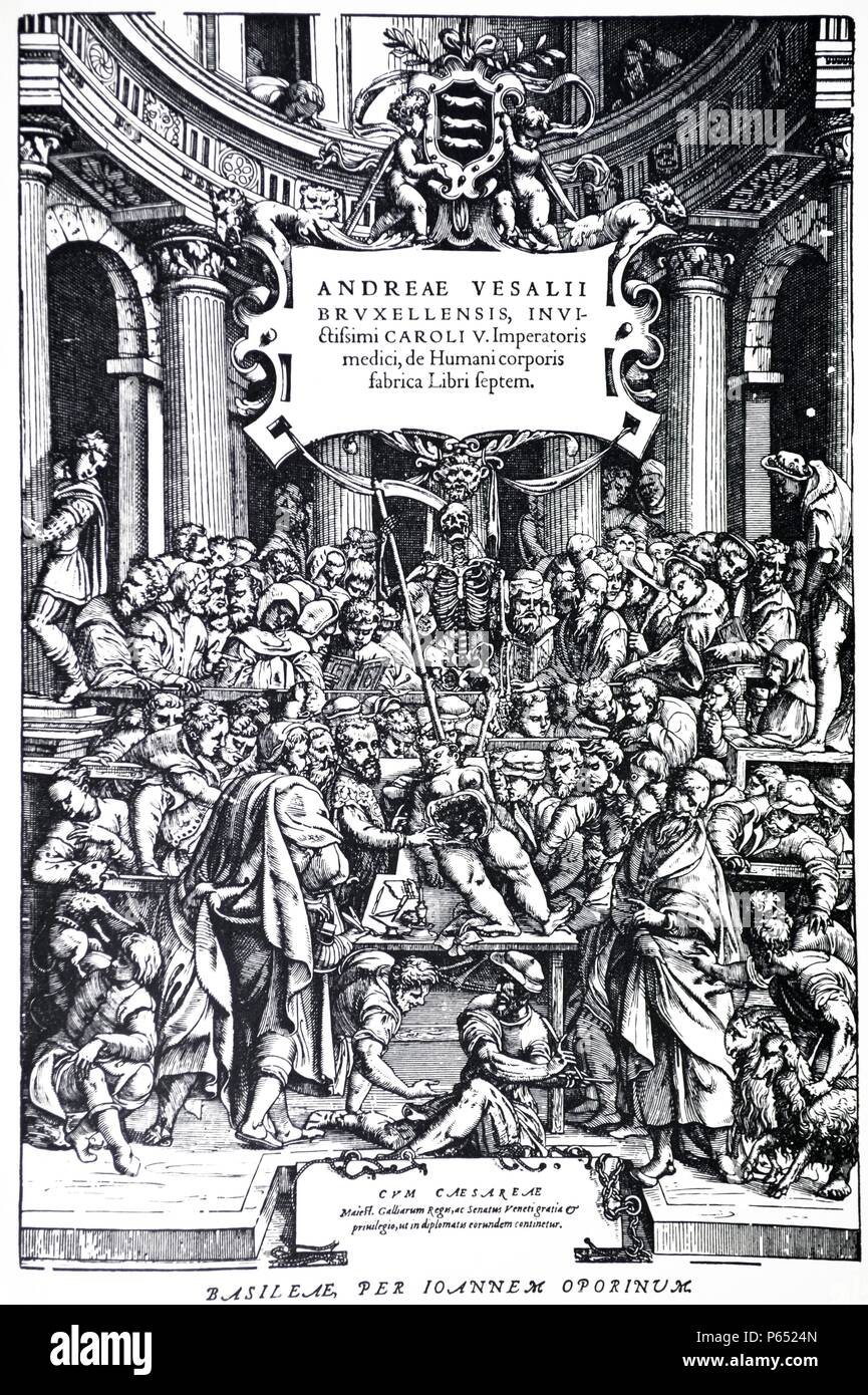 Title Page to the Second Edition of the 'De Humani Corporis Fabrica' by Andreas Vesalius, (1514-1564), Plate 3, 1555. - Stock Image