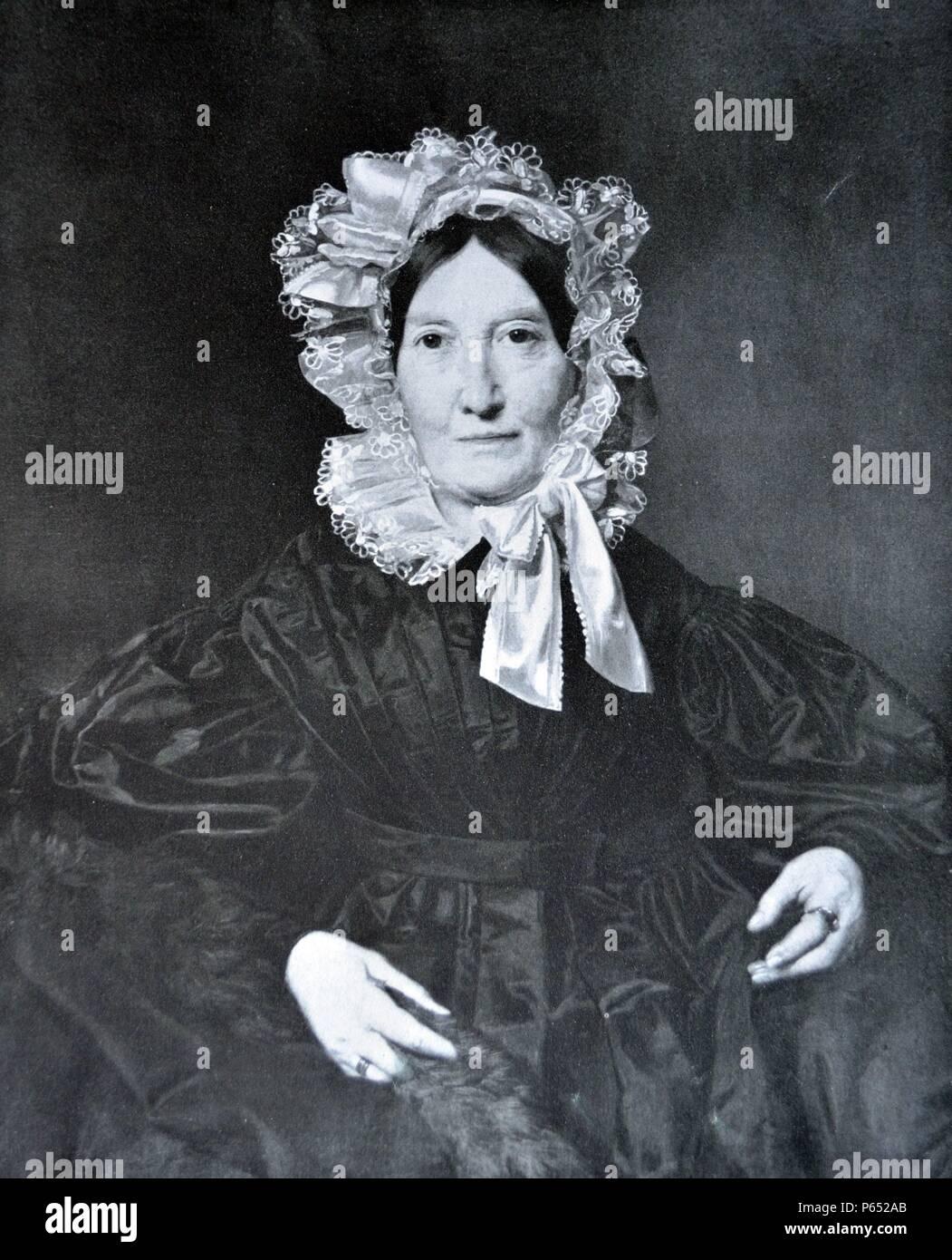 portrait of Mrs Von Lerchenau by Ferdinand Georg Waldmüller (help info) (15 January 1793 in Vienna â€ì 23 August 1865 in Hinterbrühl, Austria) was an Austrian painter and writer. - Stock Image