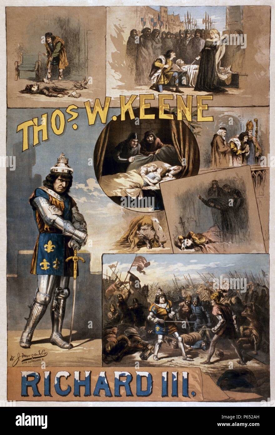 1884 poster advertising an American production of the play King Richard II by Shakespeare, showing many key scenes - Stock Image