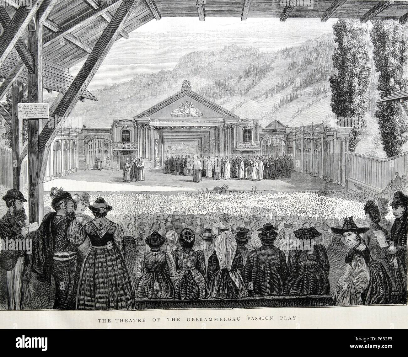 The Theatre of the Oberammergau Passion Play. A Passion Play is a dramatic presentation depicting the Passion of Jesus Christ: his trial, suffering and death. Anti-Semitism was prominent in Passion plays. Dated 1870 - Stock Image