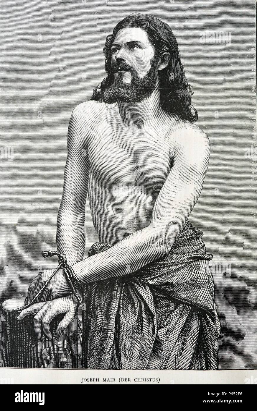 Joseph Mair as Jesus Christ for the Oberammergau Passion Play. A Passion Play is a dramatic presentation depicting the Passion of Jesus Christ: his trial, suffering and death. Anti-Semitism was prominent in Passion plays. Dated 1870 - Stock Image