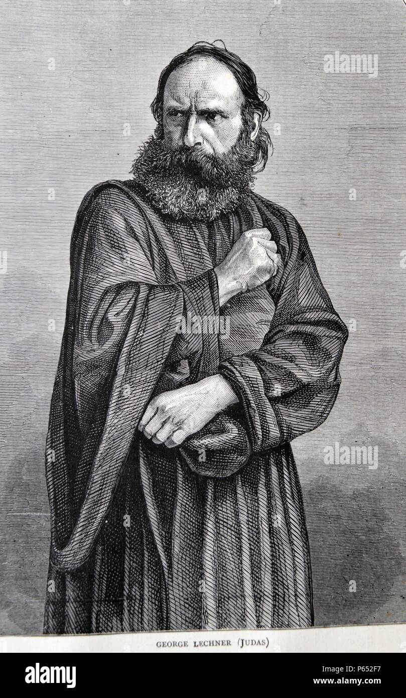 George Lechner as Judas for the Oberammergau Passion Play. A Passion Play is a dramatic presentation depicting the Passion of Jesus Christ: his trial, suffering and death. Anti-Semitism was prominent in Passion plays. Dated 1870 - Stock Image