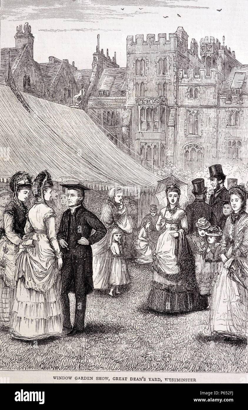 Engraving of the Window Garden Show held o the Great Dean's yard, Westminster. Dated 1870 - Stock Image