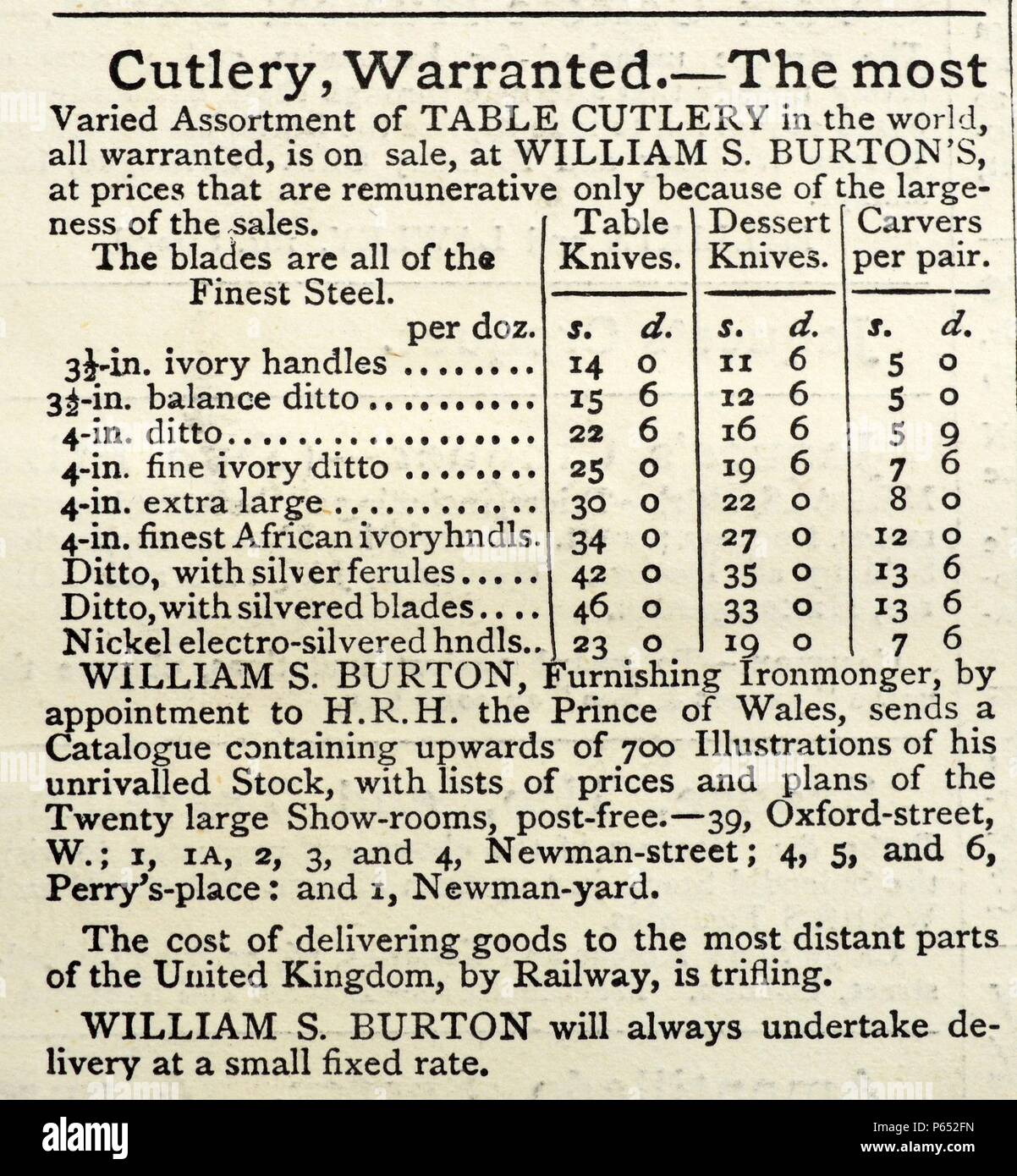 Advert in an English newspaper for stainless steel cutlery. Advert placed by the William Burton company. Adverts shows a price list for items including, ivory handles. 19th Century saw the growth of British steel industry, serving in industrial and domestic markets. Stock Photo