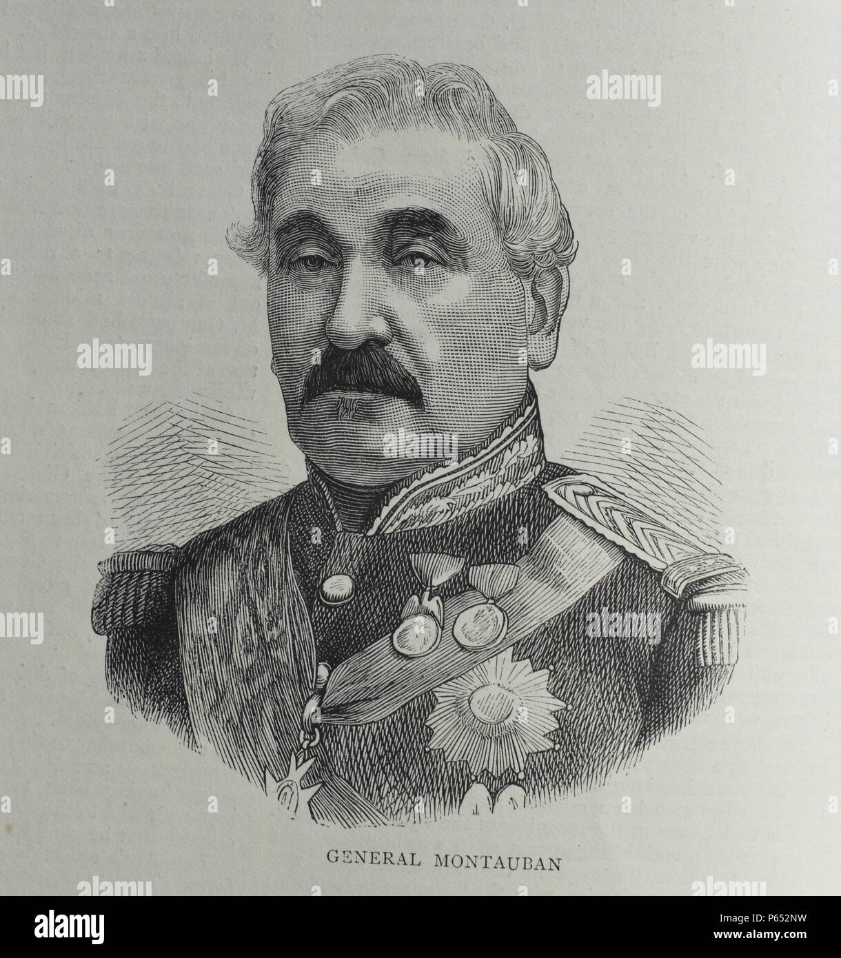 Engraving of Charles Guillaume Marie Appollinaire Antoine Cousin Montauban (1796-1878) A French general, statesman and 31st Prime Minister of France. Dated 1870 - Stock Image