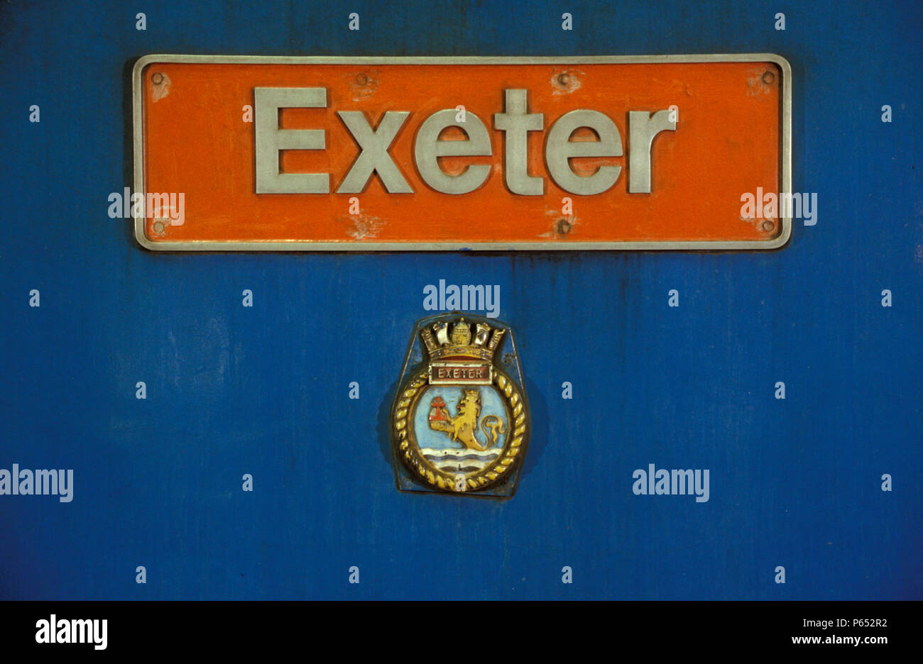 Nameplate on locomotive Exeter. C1993 - Stock Image