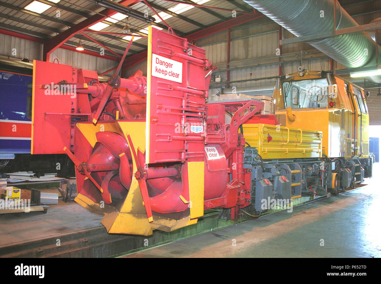 Network Rail's snow blower ADB96850 at Hunslet Barclays Works Kilmarnock on Tuesday 15th April 2003. - Stock Image
