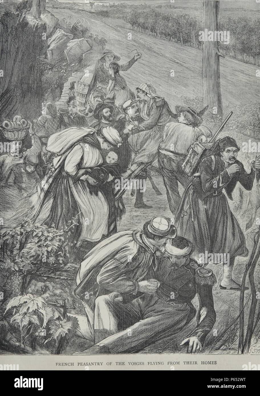Engraving depicts French peasants leaving Vosges with their possessions. Vosges is a   department in the east of France, named after the local mountain range. Dated 1870 - Stock Image