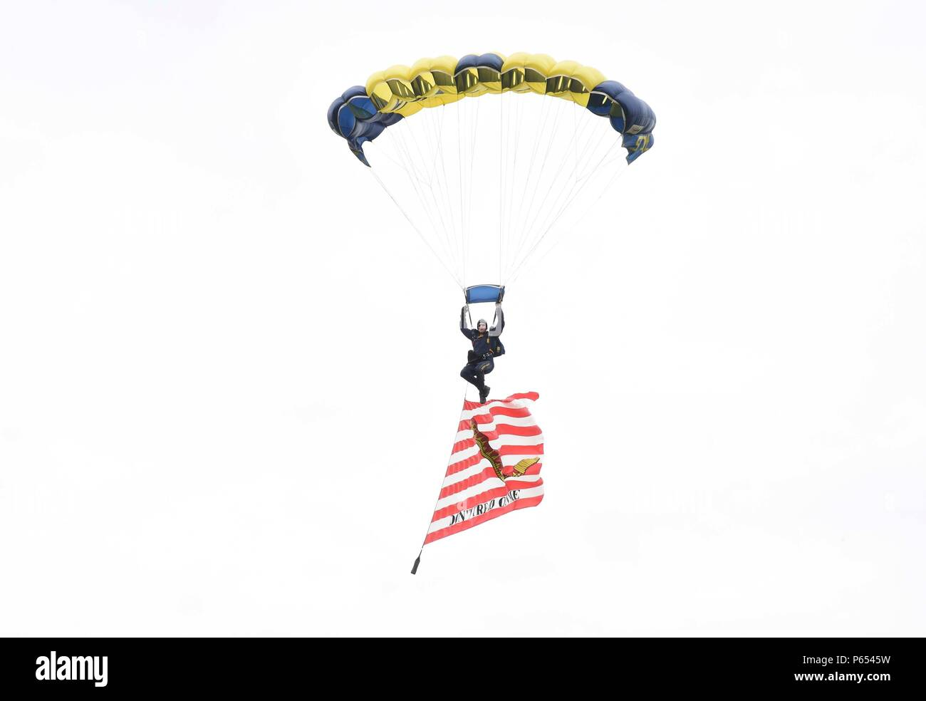 160414-N-VY375-034  MARYVILLE, Tenn. (April 14, 2016) Lt. (SEAL) Duncan Hamilton, member of the U.S. Navy Parachute Team, the Leap Frogs, flies the 'Don't Tread On Me' flag as prepares to land on the field at Clayton Bradley Academy as part of Knoxville Navy Week. The Navy Week program is designed to raise awareness about the Navy in areas that traditionally do not have a naval presence and include community relation projects, speaking engagements, and media interviews with flag hosts and area Sailors. (U.S. Navy Photo by Special Warfare Operator 1st Class Brandon Peterson/Released) - Stock Image