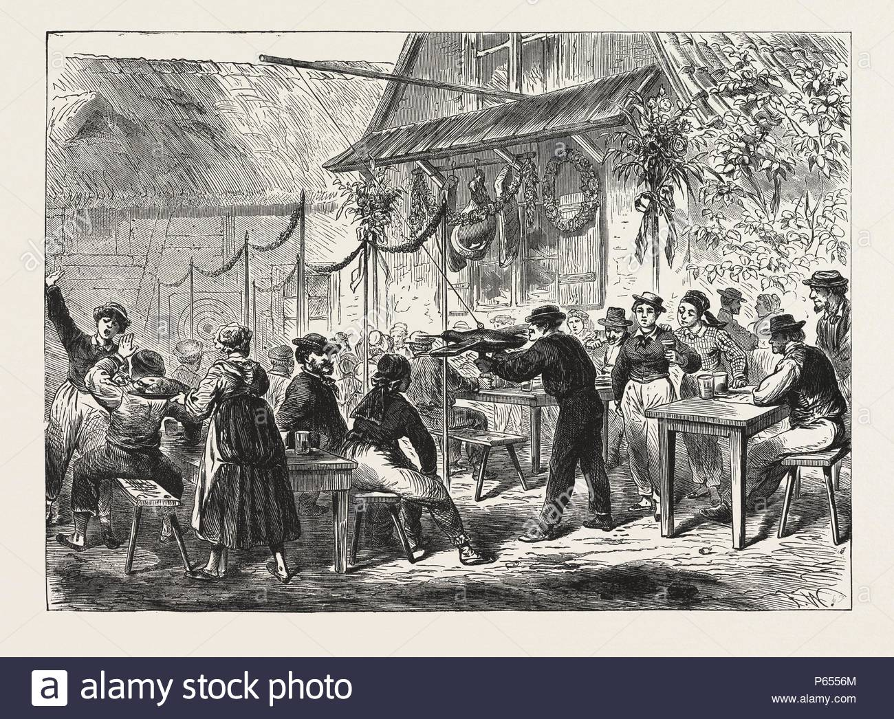 WHITSUNTIDE SPORTS IN BELGIUM: THE GAME OF THE TARGET, ENGRAVING 1876. - Stock Image