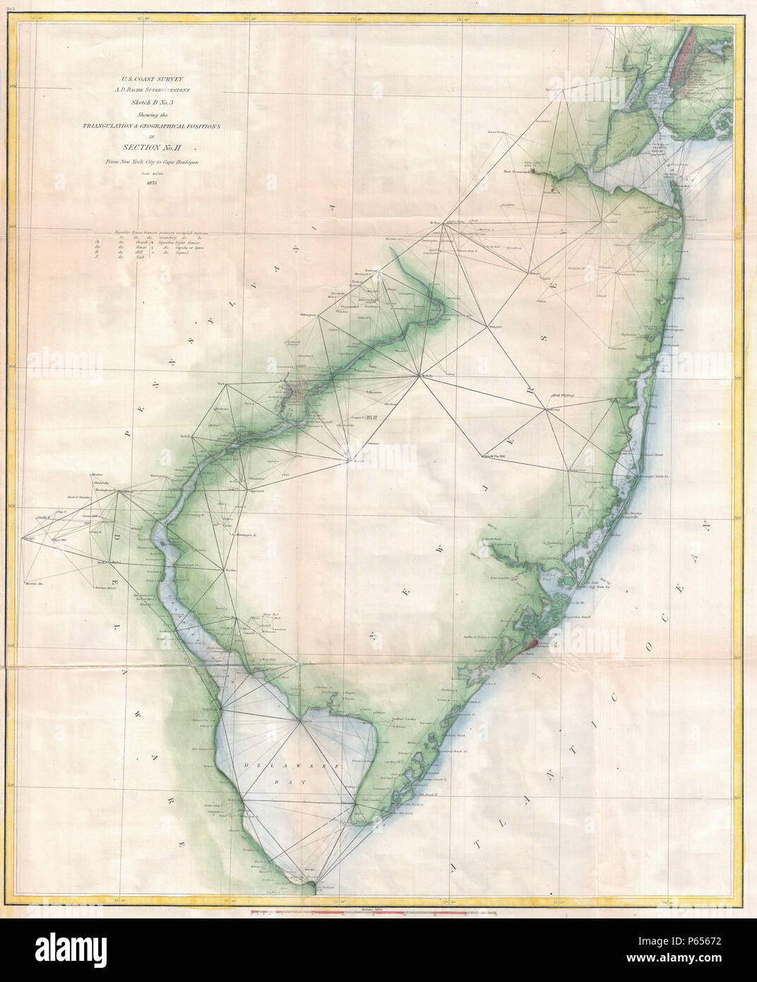 1873 U.S. Coast Survey Chart or Map of New Jersey and the Delaware Bay - Geographicus - NewJersey-uscs-1873. - Stock Image