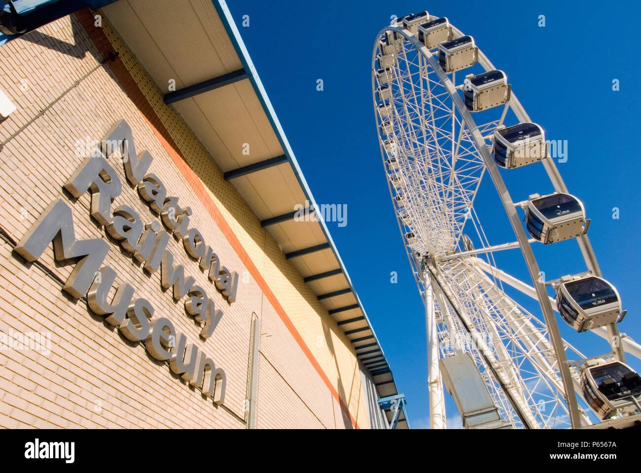 National Railway Museum and York wheel, York, United Kingdom - Stock Image