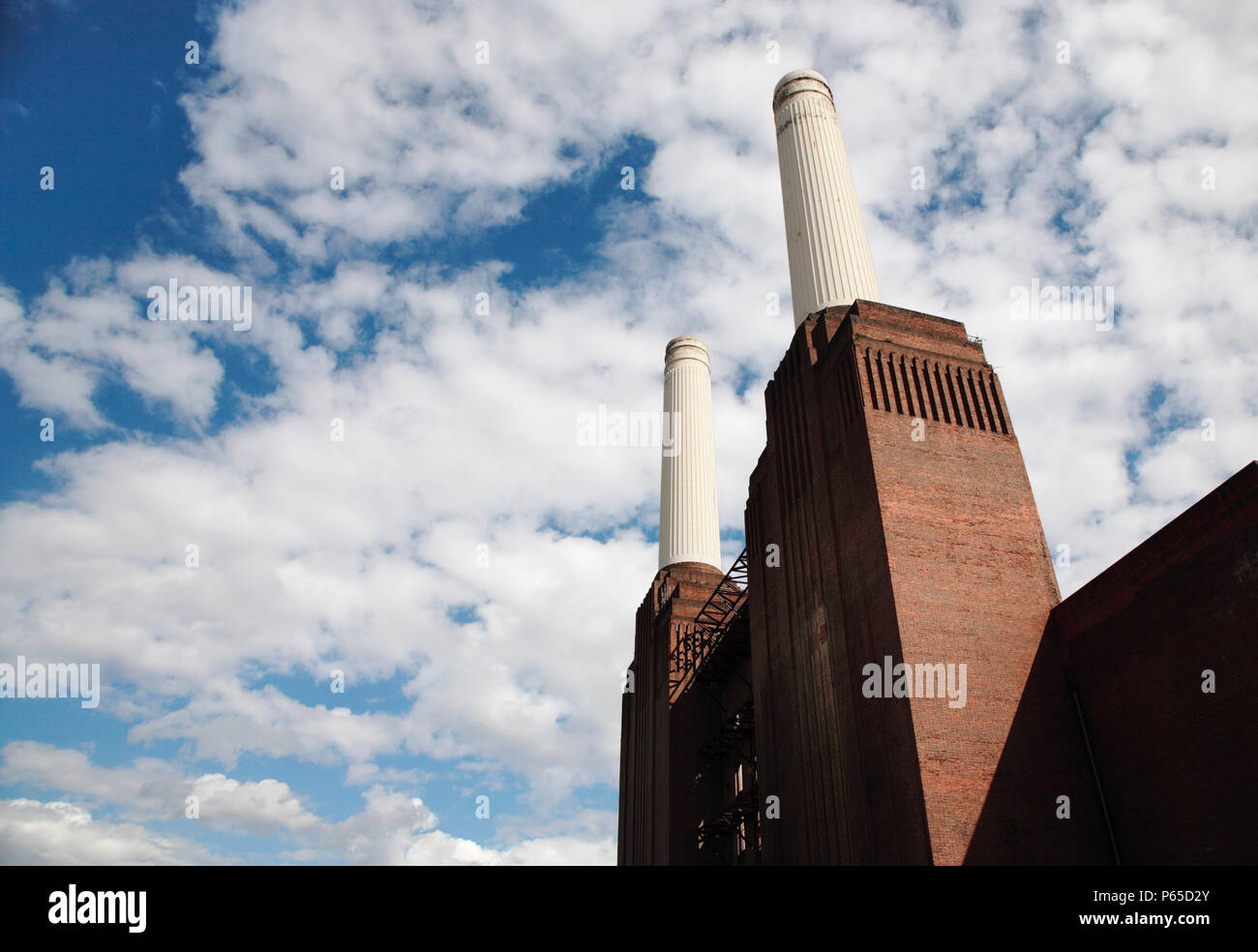 Chimneys of Battersea Power Station, London, UK 2008. Designed by Sir Giles Gilbert Scott and a Grade II listed building. - Stock Image