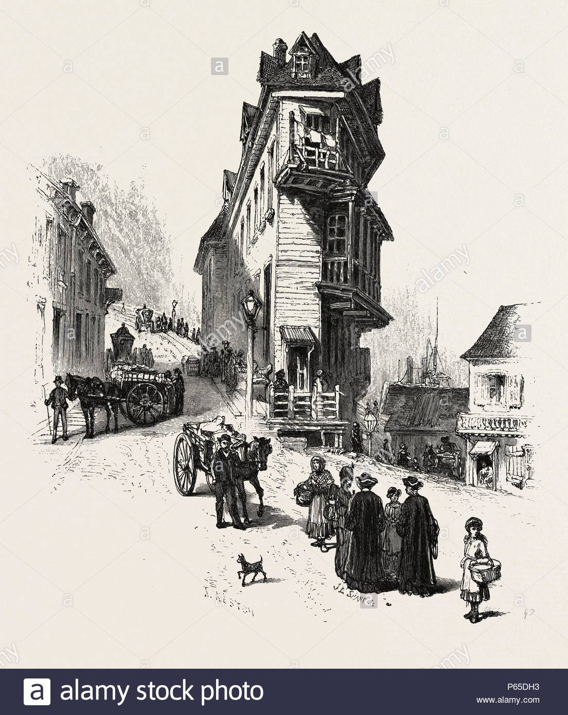 French canadian life old houses at point levis canada nineteenth century engraving
