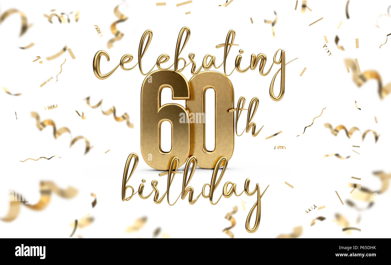Celebrating 60th Birthday Gold Greeting Card With Confetti 3D Rendering
