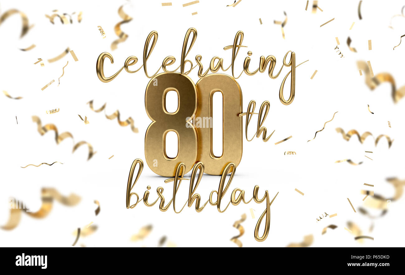 Celebrating 80th Birthday Gold Greeting Card With Confetti 3D Rendering