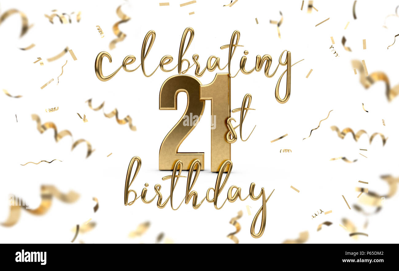 Celebrating 21st birthday gold greeting card with confetti. 3D Rendering - Stock Image