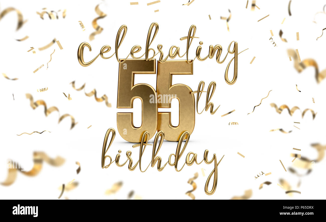 celebrating 55th birthday gold greeting card with confetti 3d