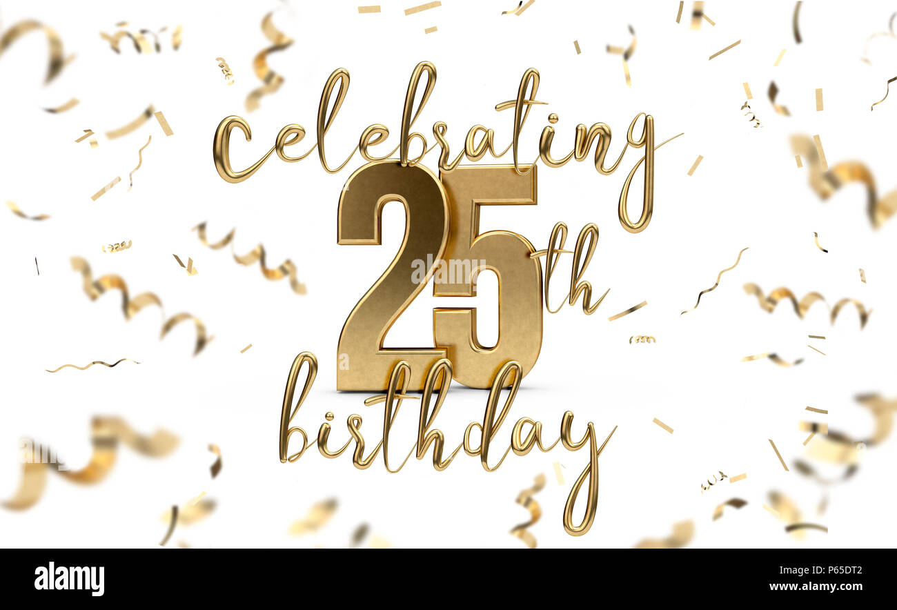 Celebrating 25th Birthday Gold Greeting Card With Confetti 3d