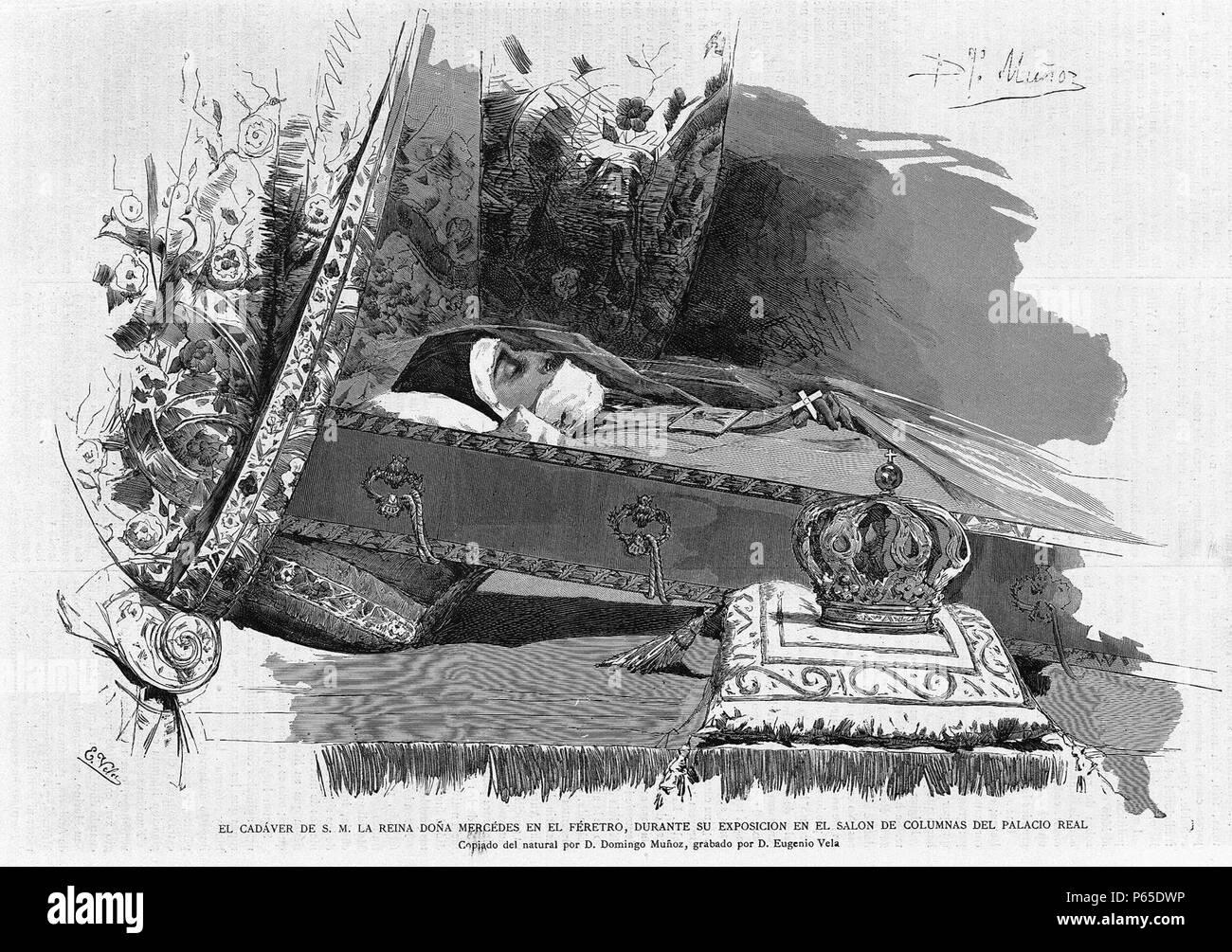 1878-07-15, La Academia, Féretro de la reina Mercedes, Muñoz, Vela. - Stock Image