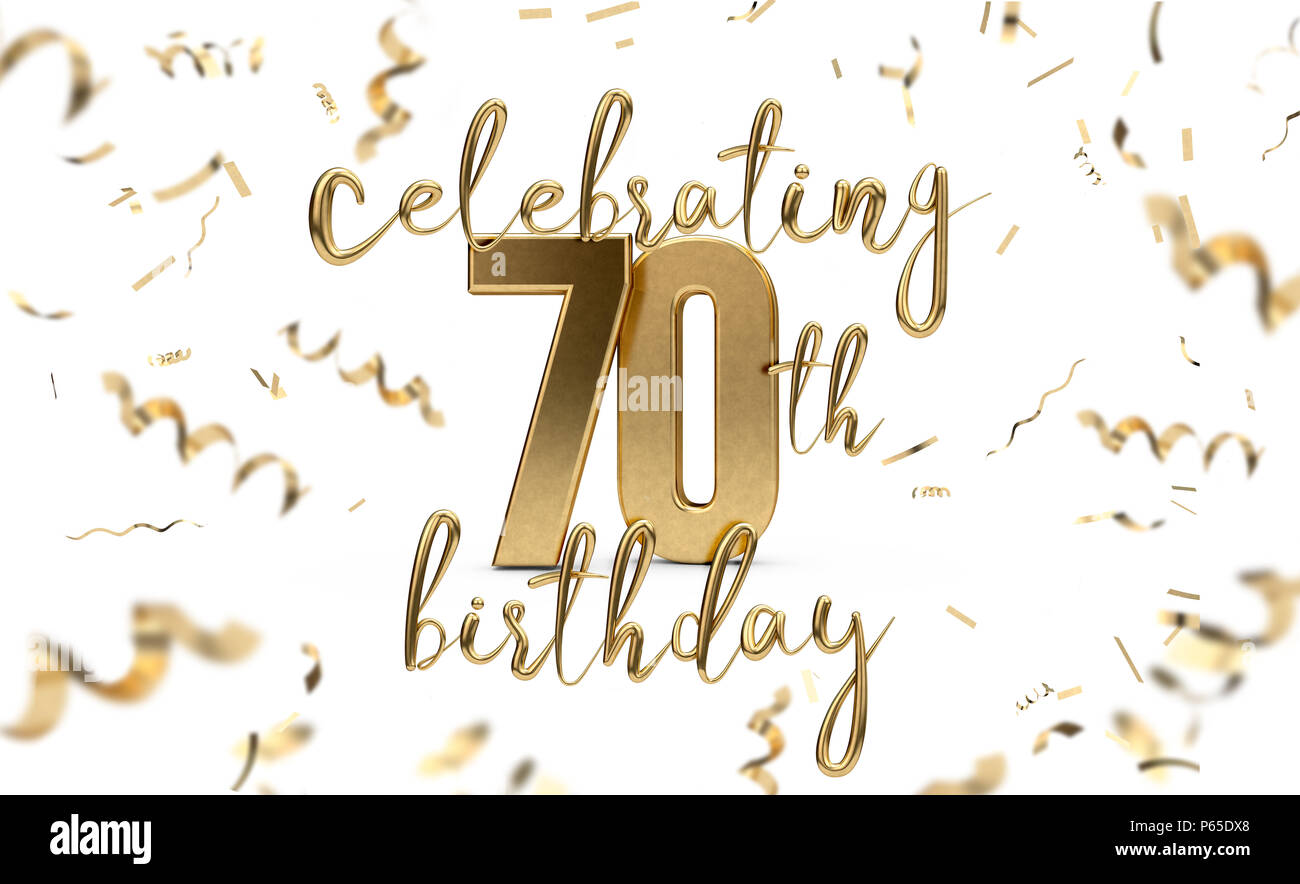 celebrating 70th birthday gold greeting card with confetti 3d