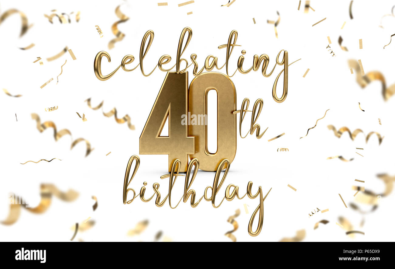 Celebrating 40th Birthday Gold Greeting Card With Confetti 3D Rendering