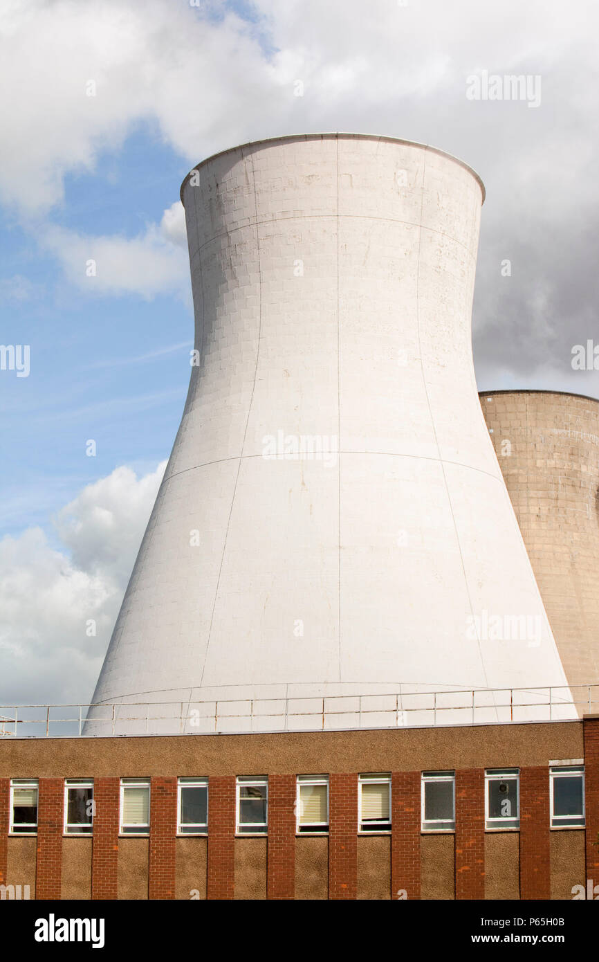 a cooling tower at the Ineos oil refinery in Grangemouth Scotland, UK. The site is responsible for massive C02 emissions. - Stock Image
