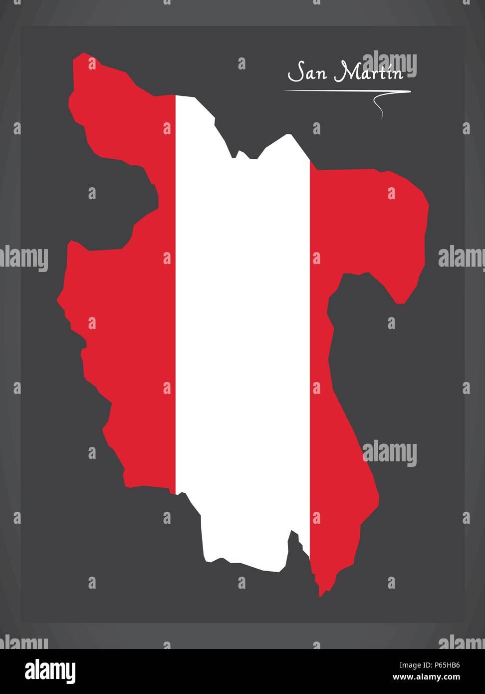 San Martin map with Peruvian national flag illustration - Stock Vector