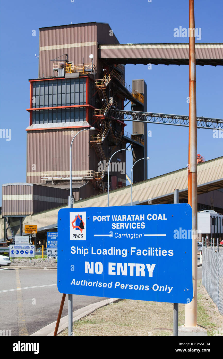 Port Waratah in Newcastle is the worlds largest coal port. Coal from open cast coal mines in the Hunter Valley is exported around the world from here, - Stock Image