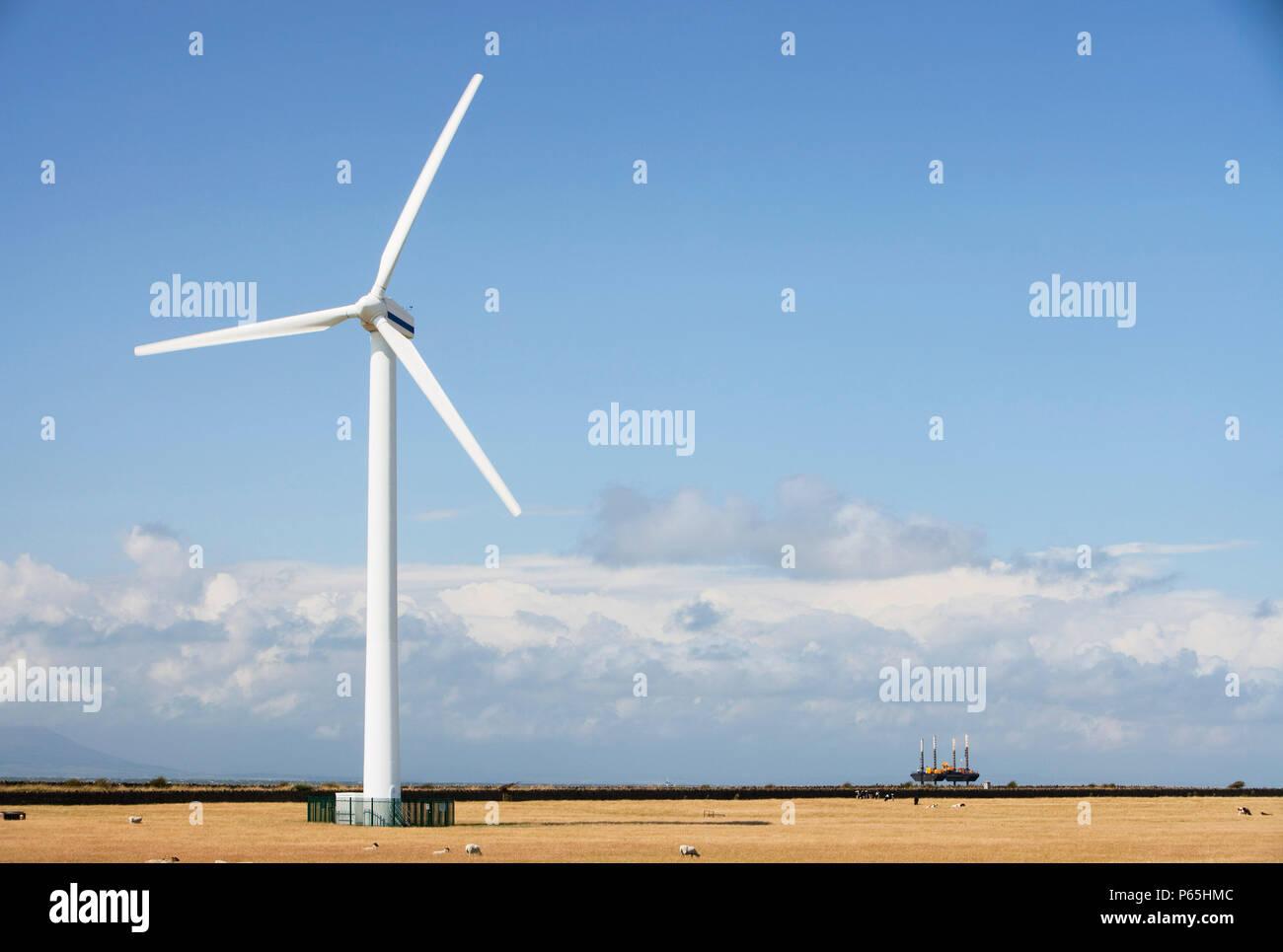 Siddick windfarm on the outskirts of Workington, Cumbria, UK. - Stock Image