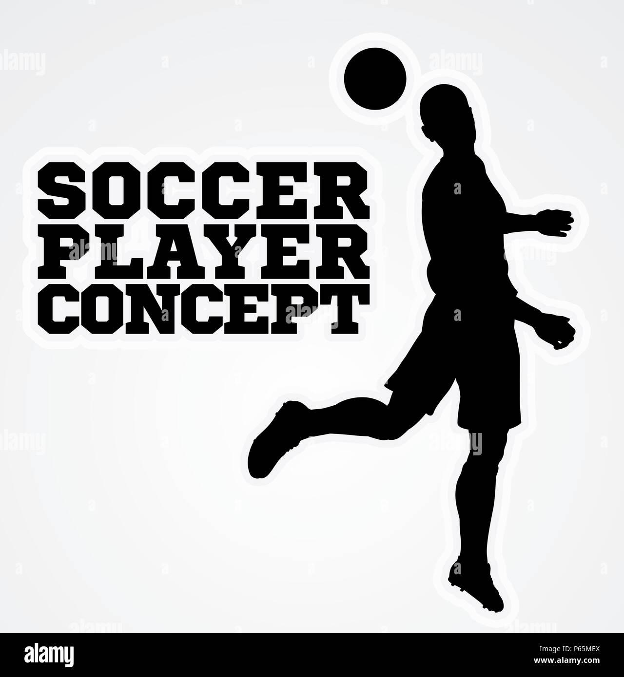 Heading Soccer Football Player Concept Silhouette - Stock Vector