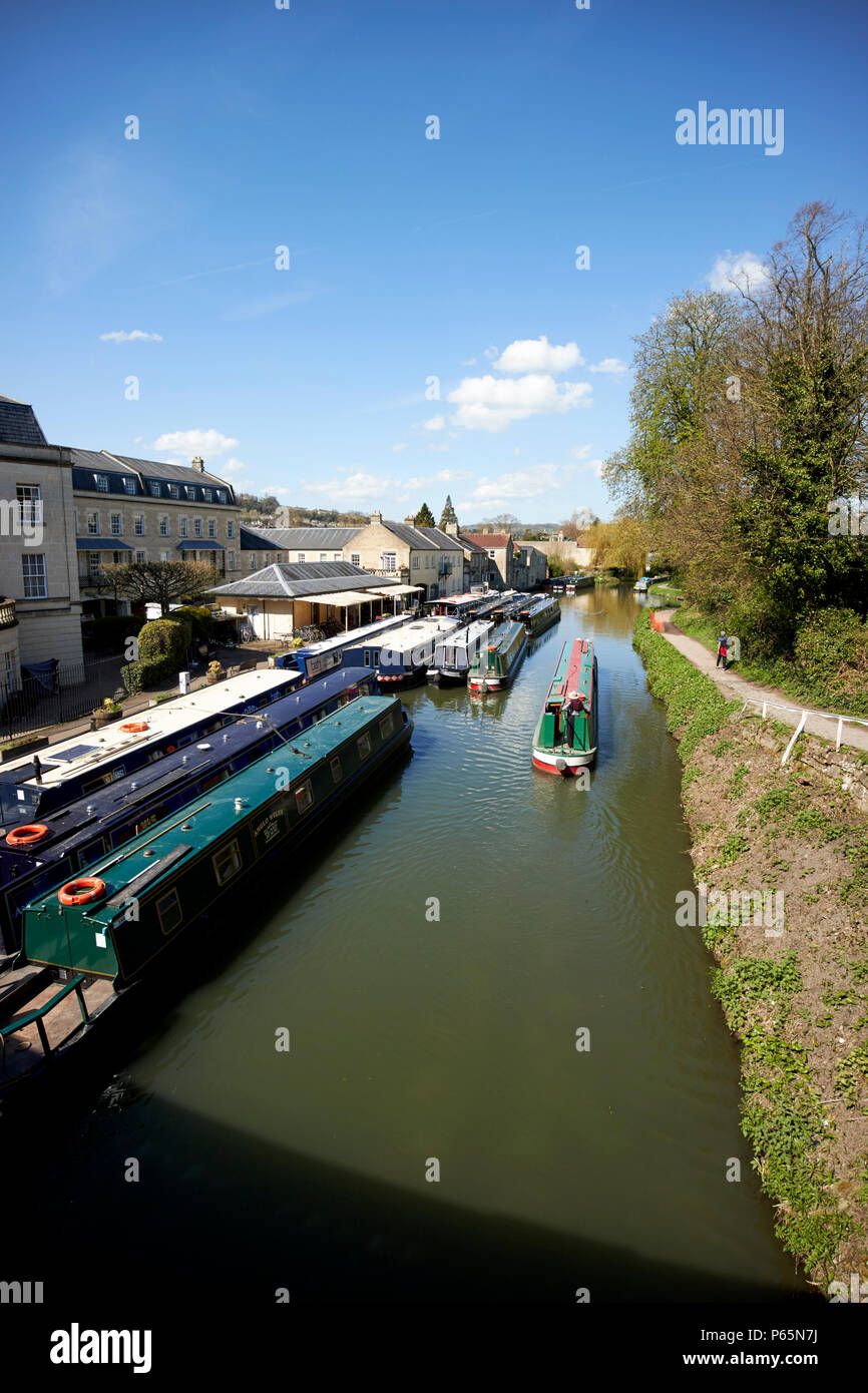 bath narrowboats at sydney wharf on the Kennet and Avon Canal Bath England UK - Stock Image