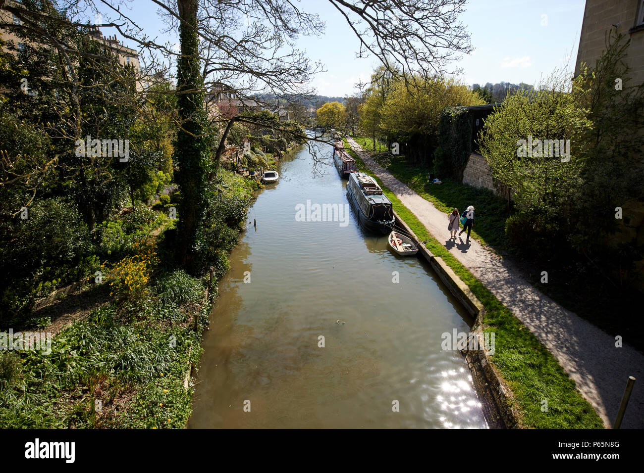 the Kennet and Avon Canal viewed from canal bridge Bath England UK Stock Photo