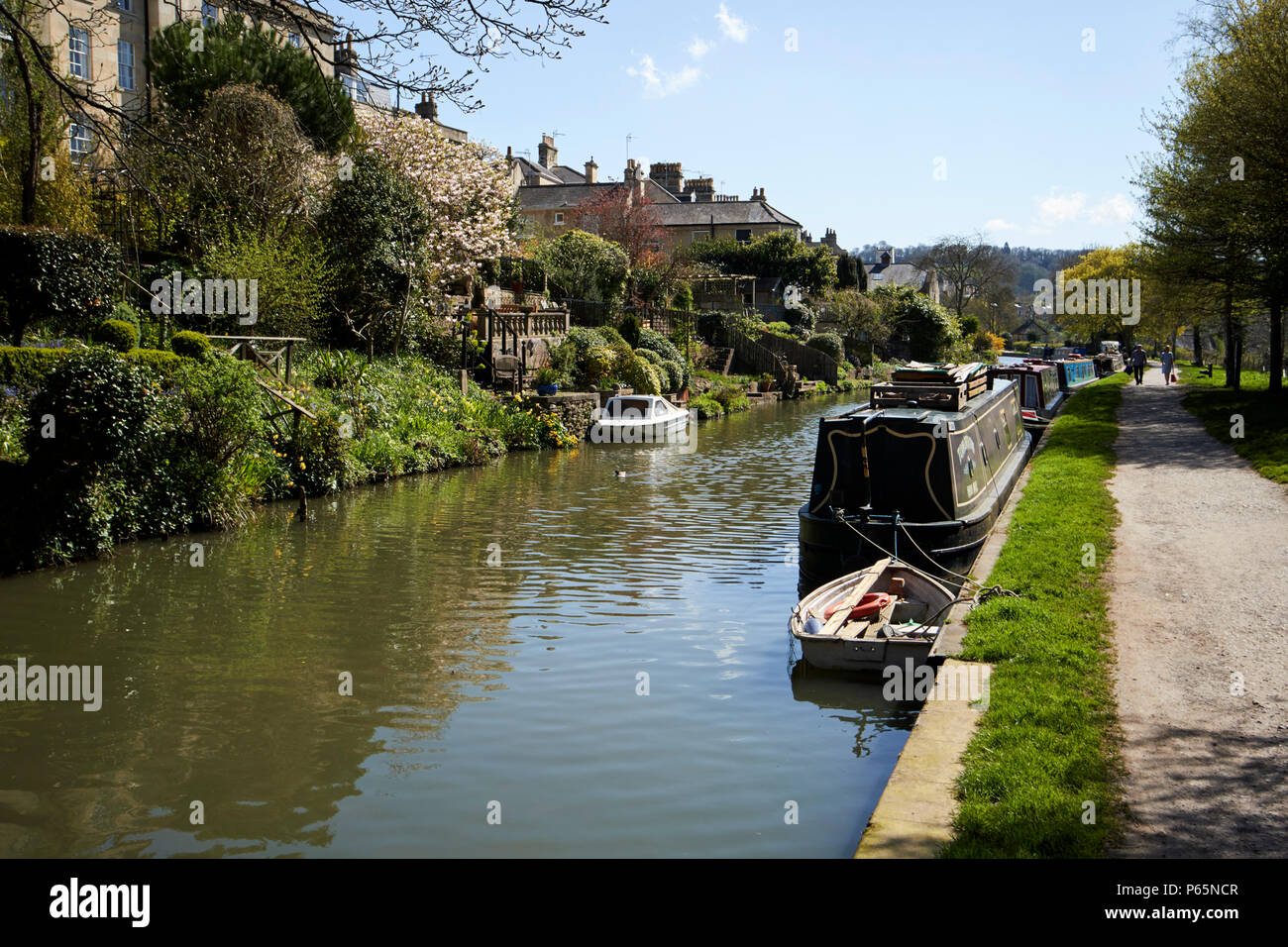 Kennet and Avon Canal with towpath and narrowboats Bath England UK Stock Photo